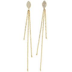 Clarissa 18 Karat Yellow Gold Natural Pavé Diamond Earrings