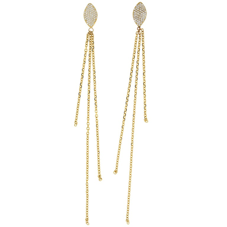 Clarissa 18 Karat Yellow Gold Natural Pavé Diamond Earrings