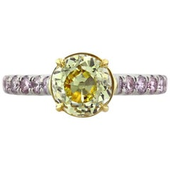Mark Broumand Fancy Intense Yellow Old European Cut Diamond Engagement Ring