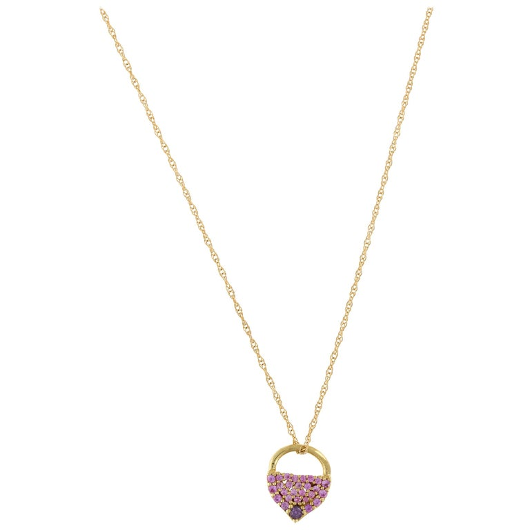 Cosmo 18 Karat Yellow Gold Natural Pink Sapphire Necklace For Sale