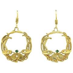Art Nouveau Antique Hoop Earrings Emerald Diamond Vines Leaf Wreath Floral Leaf