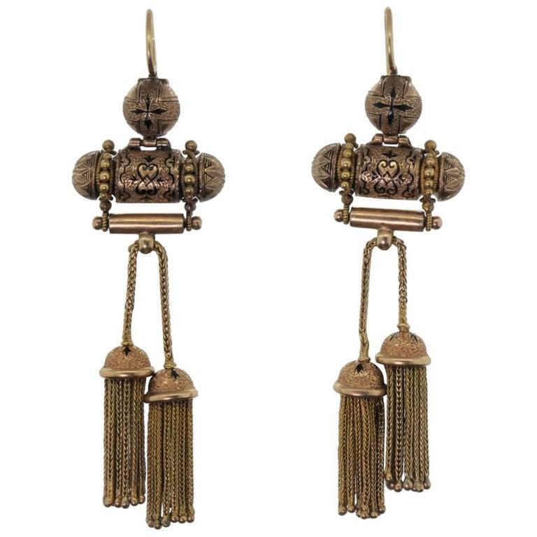 Victorian Enamel Gold Earrings