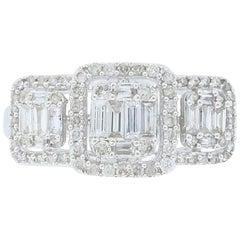18 Karat White Gold Mosaic Diamond Ring