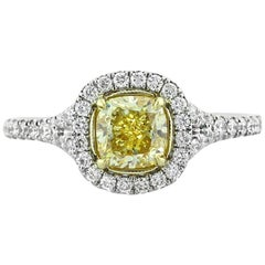 Mark Broumand 1.57 Carat Fancy Yellow Cushion Cut Diamond Engagement Ring