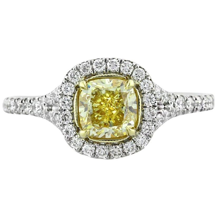 Mark Broumand 1.57 Carat Fancy Yellow Cushion Cut Diamond Engagement Ring