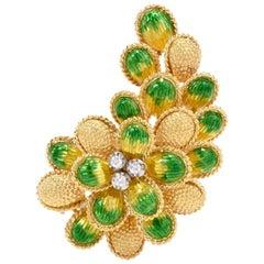 1970s Botanical 18-Karat Yellow Gold Diamond Enamel Brooch