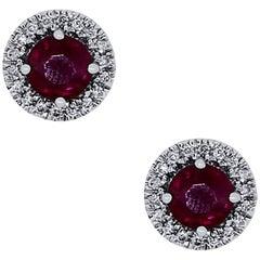 1.30 Carat Ruby Stud Earrings
