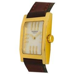 Hermes Ladies yellow gold Tank Style Quartz Wristwatch