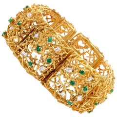 1970s Diamond Emerald 18 Karat Yellow Gold Wide Bracelet