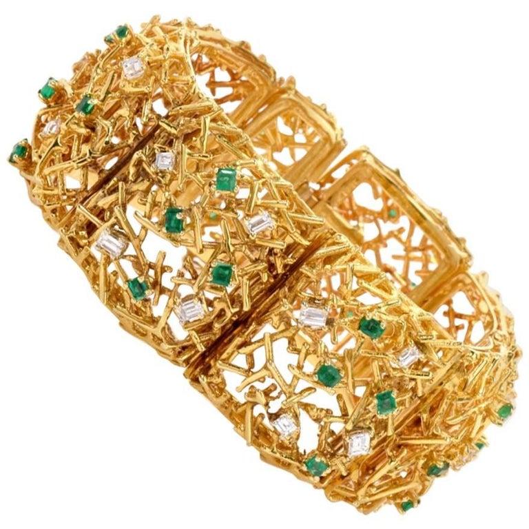 1970s Diamond Emerald 18 Karat Yellow Gold Wide Bracelet