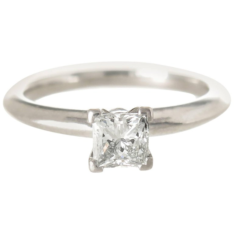 1ab975493 Tiffany & Co. Platinum and Princess Cut Diamond Engagement Ring For Sale