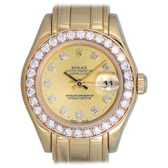 Rolex Ladies Yellow Gold Diamond Pearlmaster Champagne Dial Automatic Wristwatch
