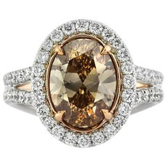 Mark Broumand 4.28 Carat Fancy Brown Yellow Oval Cut Diamond Engagement Ring
