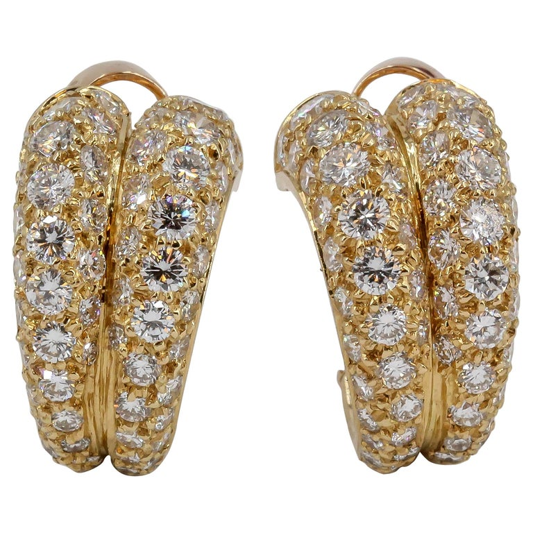 Cartier Diamond and Gold Double Hoop Earrings For Sale