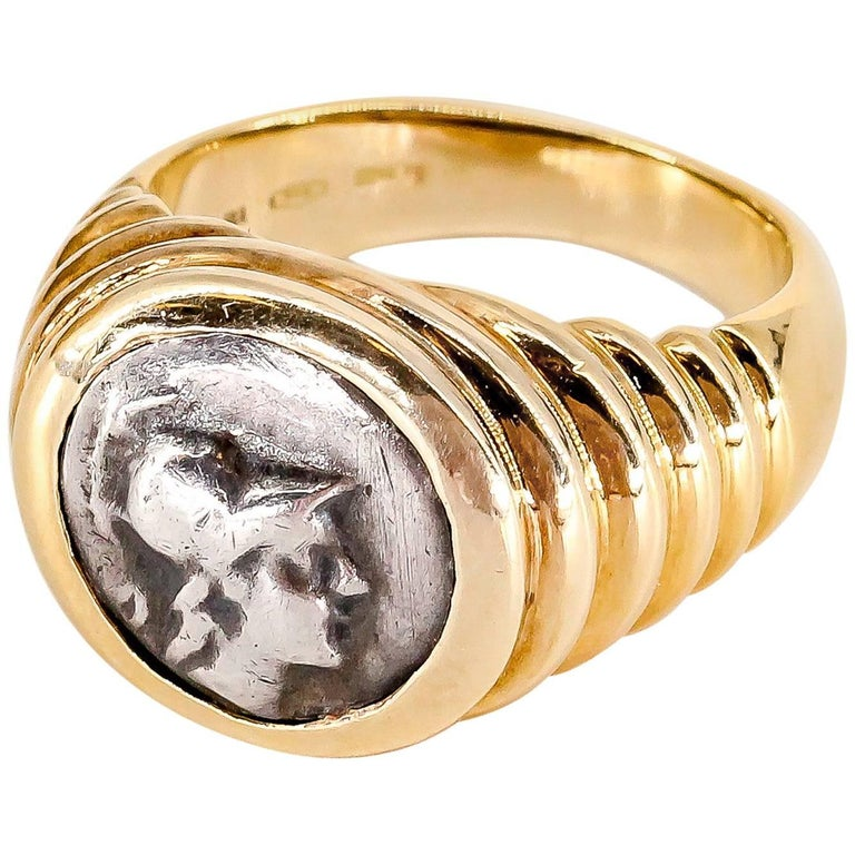 Bulgari Gold Ancient Coin Ring For Sale