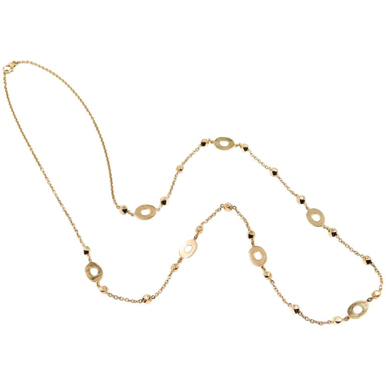 Oval Stations Long Yellow Gold Necklace