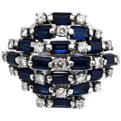 Retro Sapphire Diamond Palladium Ring