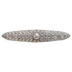 Art Deco Natural Freshwater Pearl Diamond Platinum Brooch
