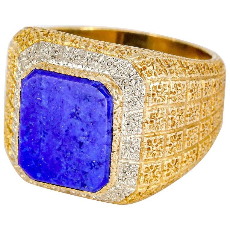Mario Buccellati Lapis Lazuli and Gold Men's Ring For Sale