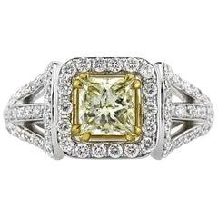 Mark Broumand 2.12 Carat Fancy Light Yellow Princess Cut Diamond Engagement Ring