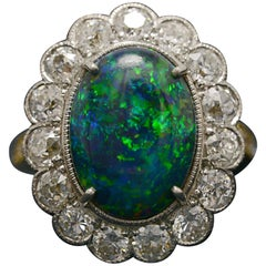 Art Deco Black Opal Diamond Halo Lightning Ridge Gold Platinum Statement Ring