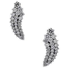 Round Brilliant Diamond Dangle Cluster Earrings