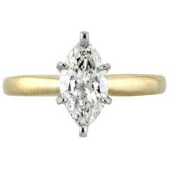 Mark Broumand 1.37 Carat Marquise Cut Diamond Solitaire Engagement Ring