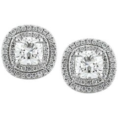 Mark Broumand 1.23 Carat Cushion Cut Halo Diamond Halo Earrings