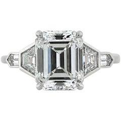 Mark Broumand 4.48 Carat Emerald Cut Diamond Engagement Ring