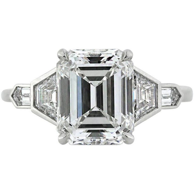 Mark Broumand 4.48 Carat Emerald Cut Diamond Engagement Ring For Sale