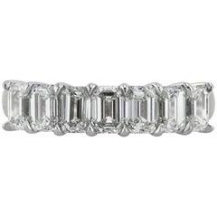 Mark Broumand 2.20 Carat Emerald Cut Diamond Wedding Band in 18 Karat White Gold