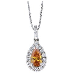 GIA Certified .44 ct Natural Yellowish Orange Pear Shape Diamond 14kt Pendant