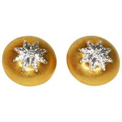 Buccellati Macri Classica Gold and Diamond Button Ear Clips