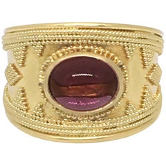 Hellenistic Ring in 18k Yellow Gold with Pink Tourmaline