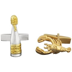 Champagne and Lobster Cufflinks in 18 Karat Gold Vermeil