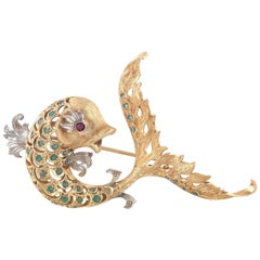Emerald Ruby Gold Dolphin Brooch