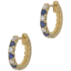 18 Karat Gold Sapphire Diamond Hoop Earrings