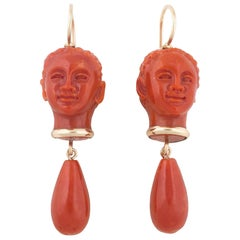 Classical Roman Head Coral Gold Earrings