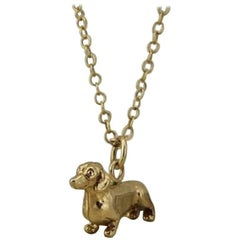 Dachshund Necklace in Solid Gold