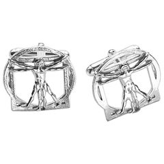 Vitruvian Man Cufflinks in Sterling Silver