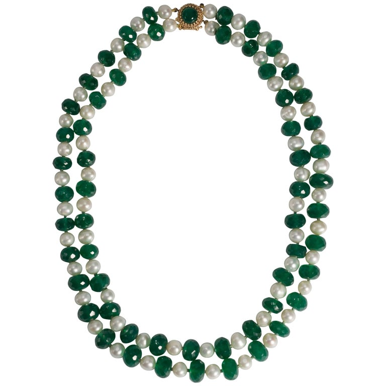 Classic Two Strand Green Faceted Agate Pearl Twin-Set Necklace