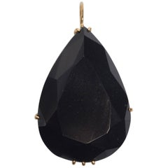 Large Pear Shape Faceted Black Jade Vermeil Necklace Enhancer
