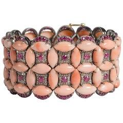 Marquise Coral Diamond Pink Tourmaline Diamond Tapestry Cuff Bracelet