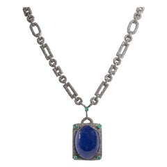 Large Cabochon Tanzanite Diamond Necklace