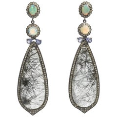Stunning Diamond Opal Rutilated Needle Quartz Long Earrings
