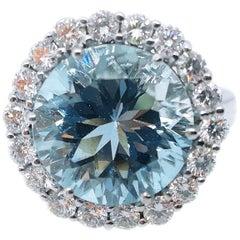 5.98 Carat Brilliant Cut Brazilian Aquamarine Diamond Cocktail Engagement Ring