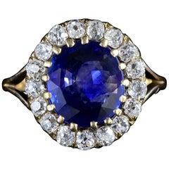 Antique Victorian Sapphire Diamond Cluster Ring, circa 1880