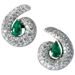 1990 Emerald Drops Diamond Clip-On Earrings