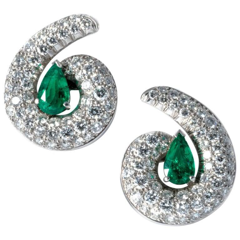 1990 Emerald Drops Diamond Clip-On Earrings