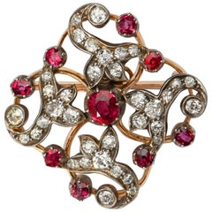 Victorian Ruby and Diamond Silver and Yellow Gold Brooch